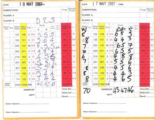 Two or 2 weeks or Golf With Des score cards.  Oh Funny golf is fun